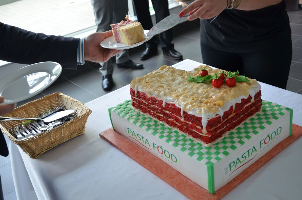There was a sweet surprise – a cake in the shape of a lasagna