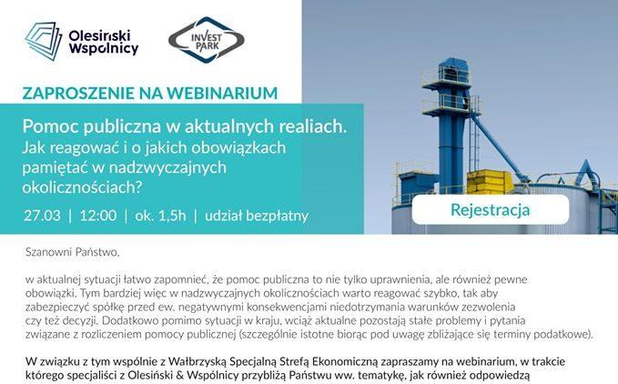 Webinarium - Pomoc Publiczna w aktualnych realiach